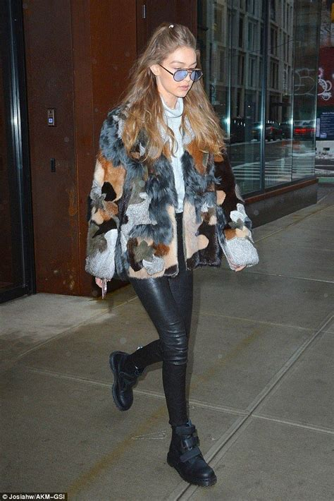 more pics of gigi hadid leather pants 1 of 14 leather pants gigi hadid dons patchwork fur and leather in new york