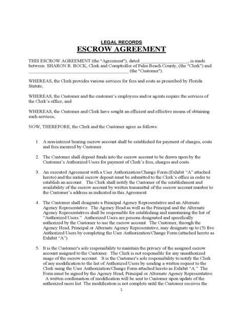 escrow agreement template records escrow agreement free