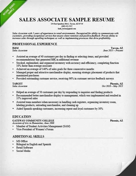 Retail Salesperson Resume Exles Created By Pros Myperfectresume Sales Associate Description Resume Whitneyport Daily