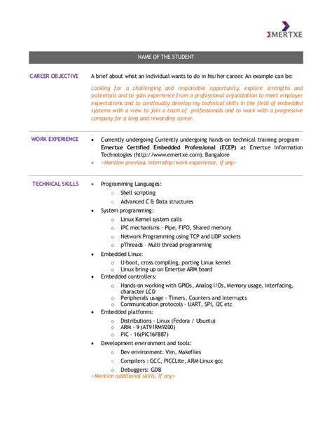 embedded systems course student resume template