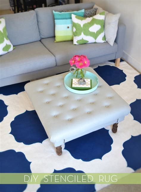 diy painted rug stencil how to paint a pattern rug with stencils 187 curbly diy design decor