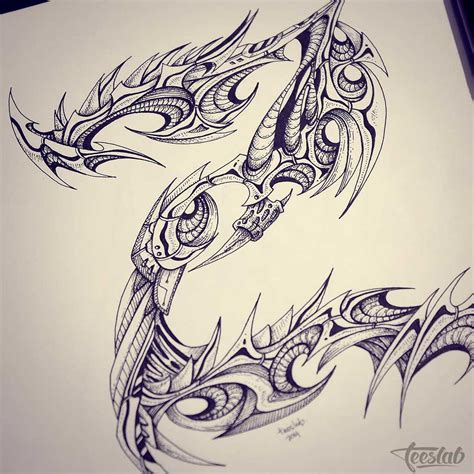 tattoo ink art biomechanical tattoo alphabet pen and ink drawing teeslab