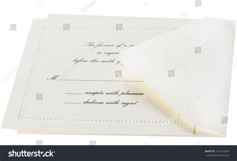 response card envelope printing template rsvp card envelope formal event stock photo 101143309