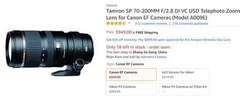 Tamron Lens Sp 70 200mm Di F2 8 Vc deal tamron sp 70 200mm f 2 8 di vc usd lens for 949