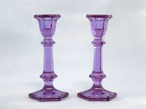 purple glass candle holder shop collectibles daily