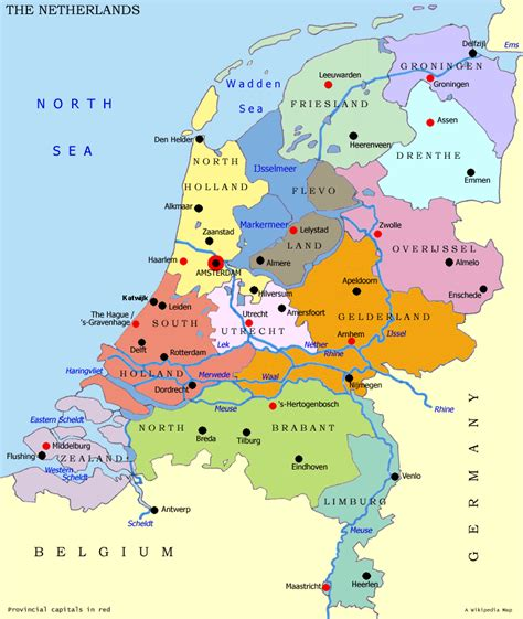 netherlands map and cities cities map