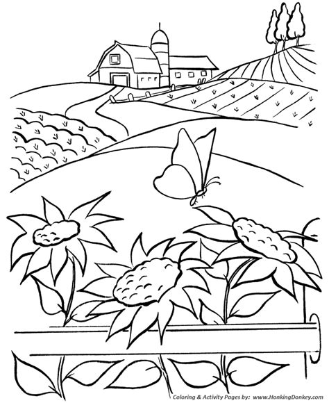 farm life coloring pages printable farm barn sunflowers