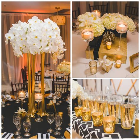 black white and gold centerpieces for wedding yamamoto event design