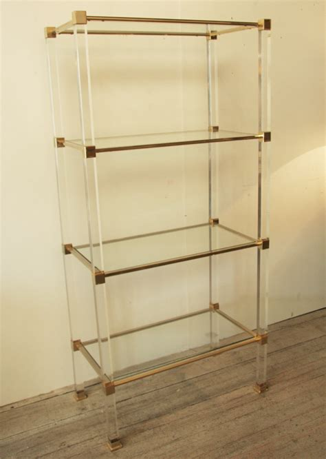 lucite bookshelves 1960 s lucite glass and brass shelves haunt antiques for the modern interior