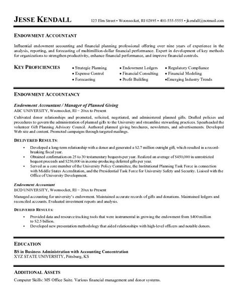 exle endowment accountant resume free sle