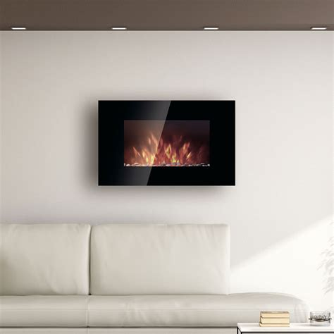 comfort smart 35 in wall mount electric fireplace w rocks
