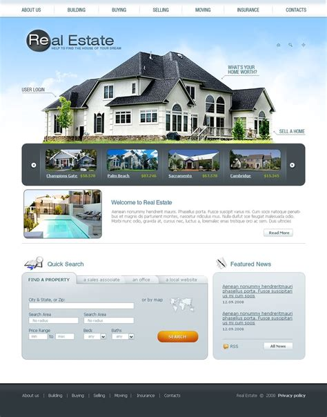 website templates for real estate agents real estate agency website template 24154
