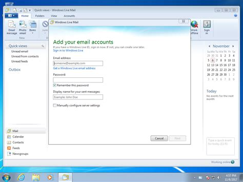 how to setup windows live mail account in windows 7 email support