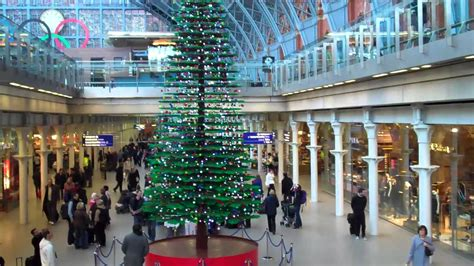 giant lego christmas tree st pancras view from the