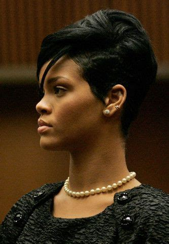 black female studs hair style rihanna wearing her classic pearl necklace and pearl studs