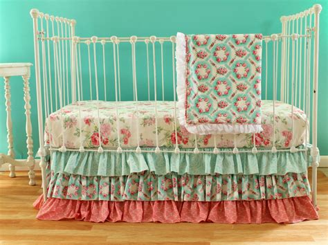 Pink And Aqua Vintage Inspired Crib Bedding Set Multiple Set Vintage Style Crib Bedding