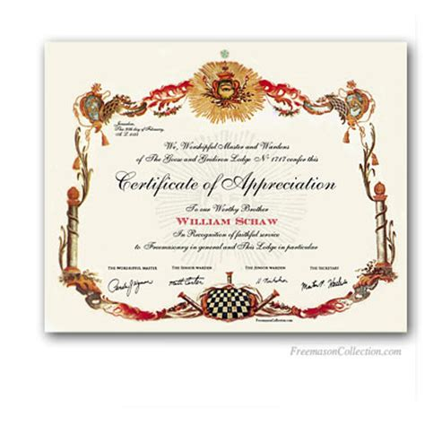 Masonic Certificates Awards And Diplomas Freemason Collection Freemason Website Templates