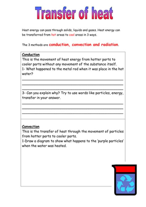 Thermal Energy And Heat Worksheet by Heat Energy Transfer Worksheet By 1mightyhamster