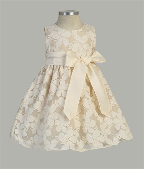 Kid Dress Lace infant flower embroidered lace dress with removable sash