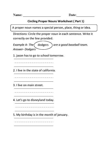 circling proper nouns worksheet part 1 educational ideas