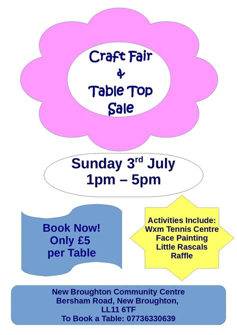 table top poster table top sale craft fair wrexham
