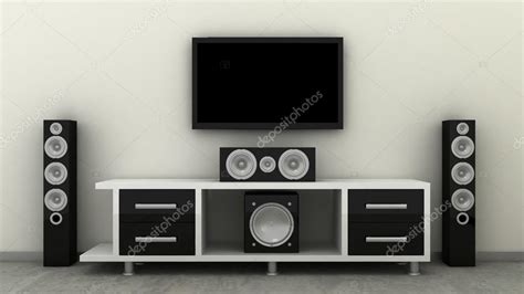 empty led tv on television shelf with home theater cynema