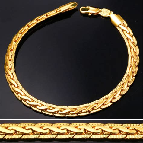 18k real gold plated bracelet jewelry wholesale 21cm