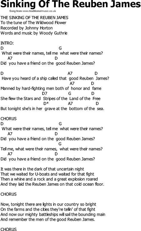 The Sinking Lyrics by Country Song Lyrics With Chords Sinking Of The