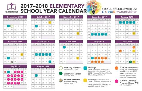 printable calendar elementary school school year calendar 2017 2018 ontario download pdf