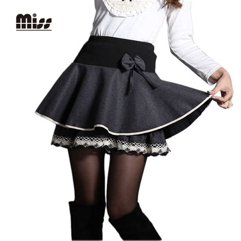 Black Bow Lace Skirt Set miss 2016 pleated mini skirt for woolen high