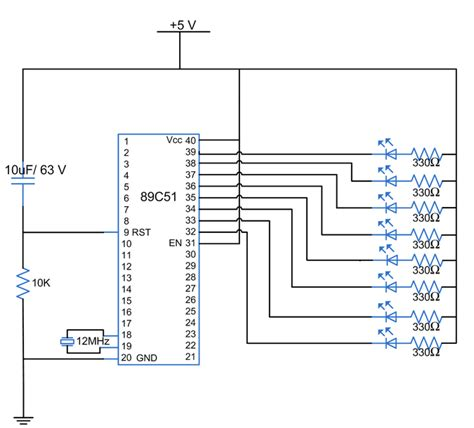 value of pull up resistor for 8051 electronics projects how to interface leds with 8051 microcontroller at89c51