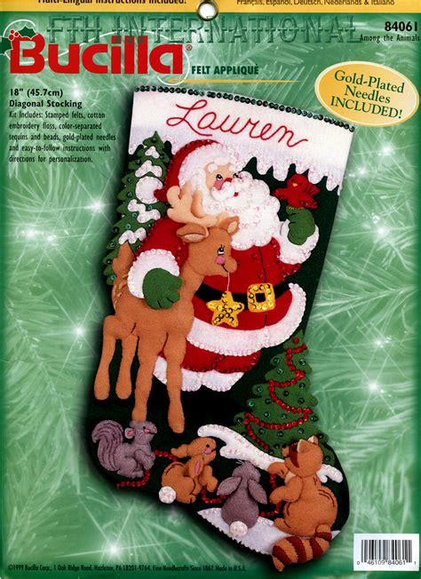 Exceptional Vintage Felt Christmas Stockings #1: 84061FCwmR1-Among-The-Animals-img142.jpg