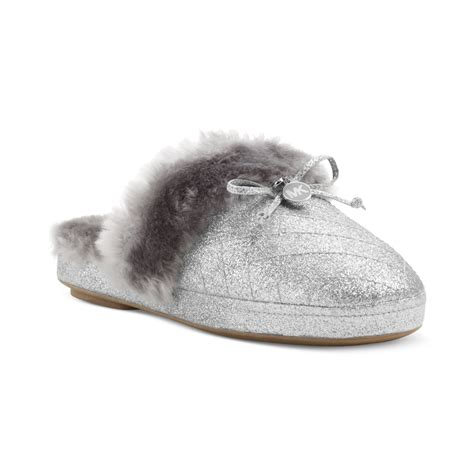michael kors slippers michael kors fur slippers in silver lyst
