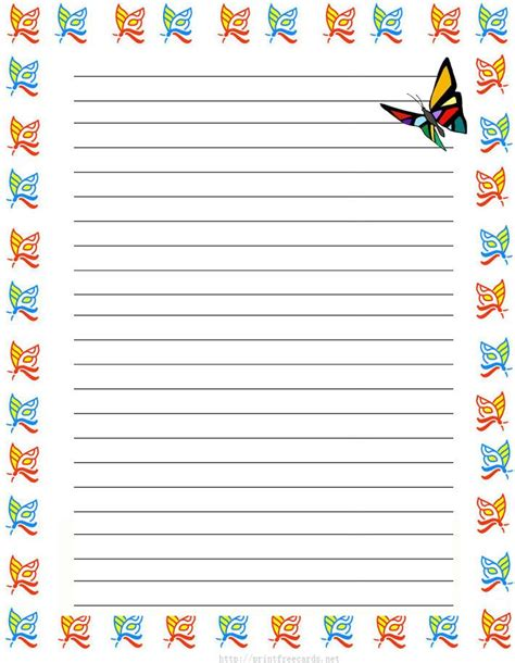 lined paper with money border girl butterflies free printable kids stationery free