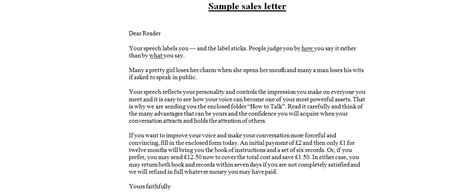 Formal Letter Writing In Sles Sales Letters Business Letter Exles