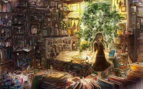 the wing of romm books cluttered room wallpaper anime wallpapers 27451