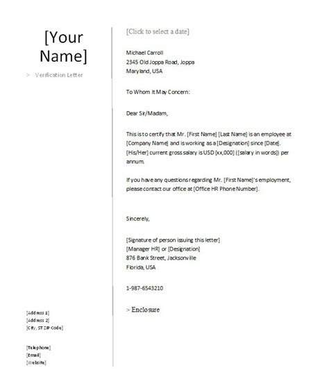 Letter From Employer For Mortgage Uk 40 Proof Of Employment Letters Verification Forms Sles