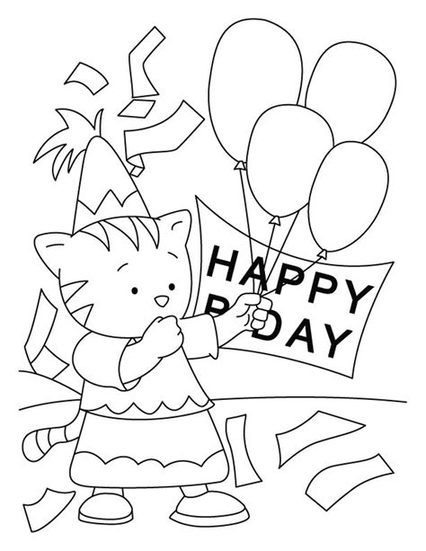 happy birthday cat coloring page happy birthday coloring pages free printable download for