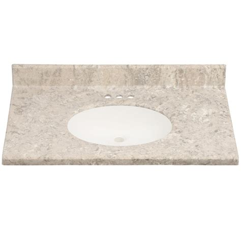 us marble 37 in cultured granite vanity top in fawn color with integral backsplash and fawn
