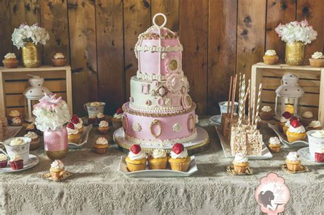 shabby chic wedding cake and sweet table cakecentral com