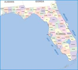 detailed administrative divisions map of florida state