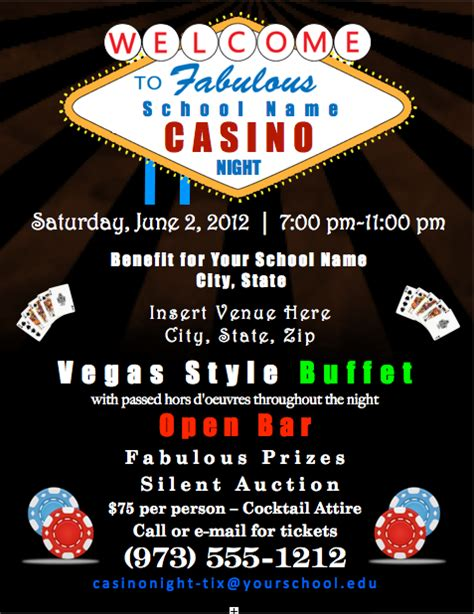 Casino Night Flyer Teaching Store Pinterest Casino Night Casino Fundraiser Flyer Template