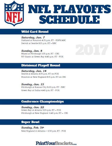 printable nfl playoff tv schedule 2015 2015 nfl post season schedule autos post