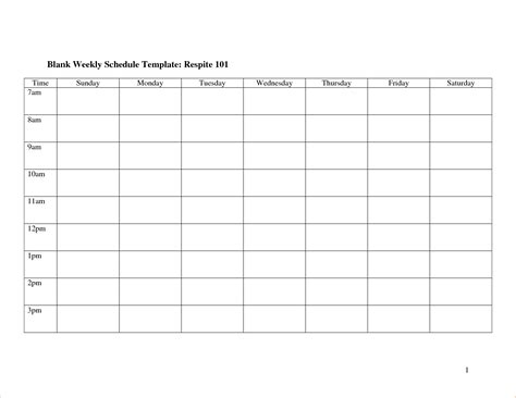 8 Blank Schedule Template Memo Formats Blank Schedule Template