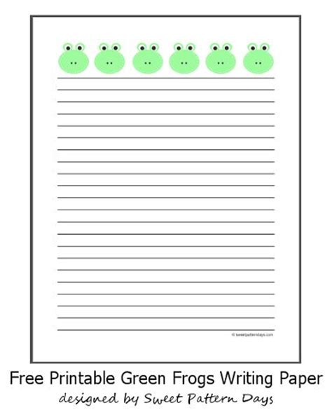 frog border writing paper green frogs lined a4 paper stationery printables