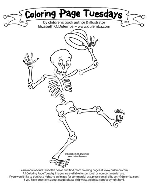 Coloring Page Tuesdays by Dulemba Coloring Page Tuesday Skeleton