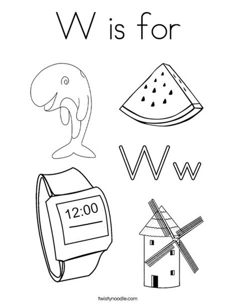 preschool coloring pages letter w w is for coloring page twisty noodle