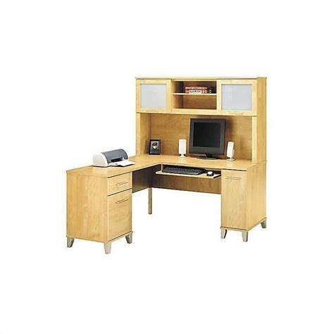 Computer Desk L Shaped With Hutch Bush Somerset L Shape Wood W Hutch Maple Cross Computer Desk Ebay
