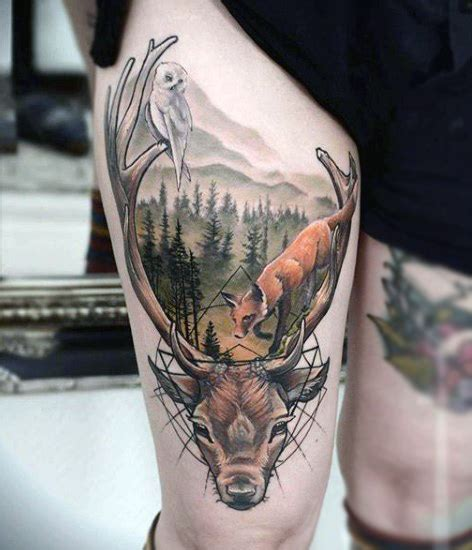 tattoo prices red deer outdoors deer tattoo for men on thigh in color tattoos
