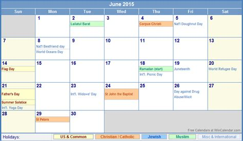 Calendar 2015 June With Holidays June 2015 Calendar With Holidays For Printing Picture Format